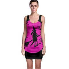 Halloween witch - pink moon Sleeveless Bodycon Dress