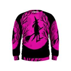 Halloween witch - pink moon Kids  Sweatshirt