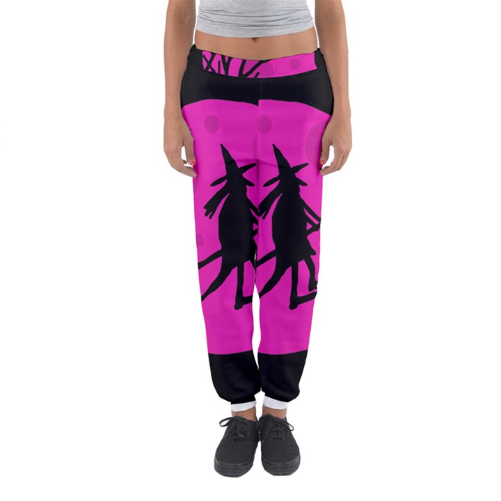 Halloween witch - pink moon Women s Jogger Sweatpants