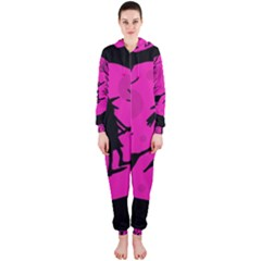 Halloween witch - pink moon Hooded Jumpsuit (Ladies)