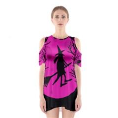 Halloween Witch   Pink Moon Cutout Shoulder Dress