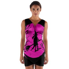 Halloween witch - pink moon Wrap Front Bodycon Dress