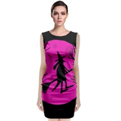 Halloween witch - pink moon Classic Sleeveless Midi Dress