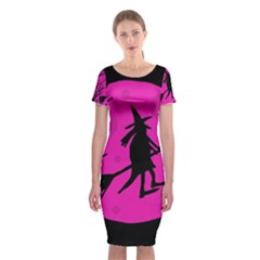 Halloween witch - pink moon Classic Short Sleeve Midi Dress