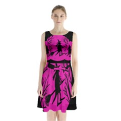 Halloween Witch   Pink Moon Sleeveless Chiffon Waist Tie Dress