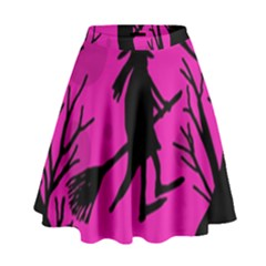 Halloween witch - pink moon High Waist Skirt