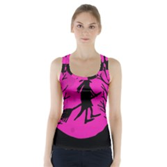 Halloween witch - pink moon Racer Back Sports Top