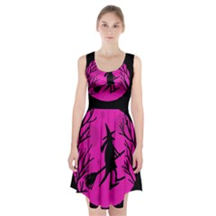 Halloween witch - pink moon Racerback Midi Dress