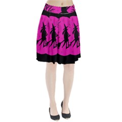 Halloween witch - pink moon Pleated Skirt