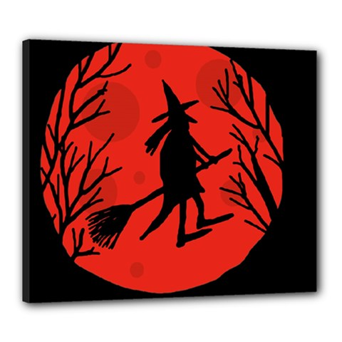 Halloween witch - red moon Canvas 24  x 20