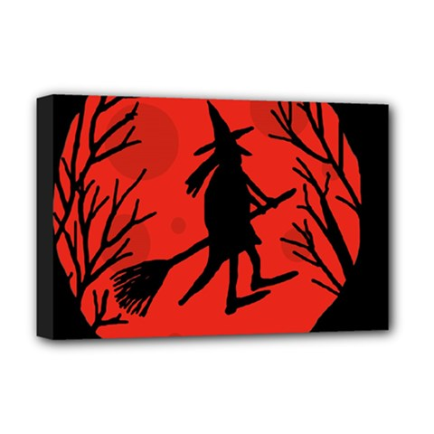 Halloween witch - red moon Deluxe Canvas 18  x 12