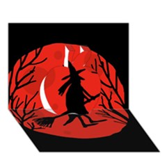 Halloween witch - red moon Apple 3D Greeting Card (7x5)