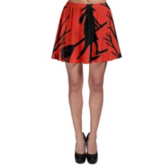 Halloween witch - red moon Skater Skirt