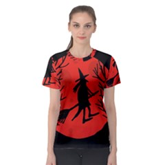Halloween witch - red moon Women s Sport Mesh Tee