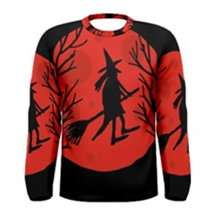 Halloween witch - red moon Men s Long Sleeve Tee