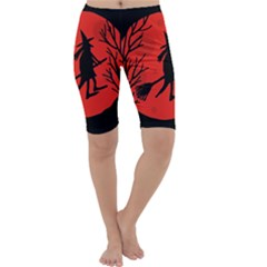 Halloween witch - red moon Cropped Leggings