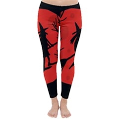 Halloween witch - red moon Winter Leggings