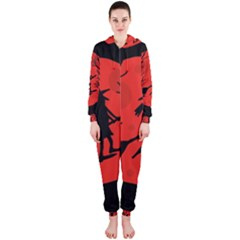 Halloween witch - red moon Hooded Jumpsuit (Ladies)