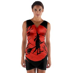 Halloween witch - red moon Wrap Front Bodycon Dress