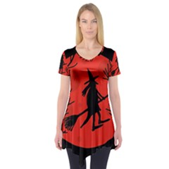 Halloween witch - red moon Short Sleeve Tunic