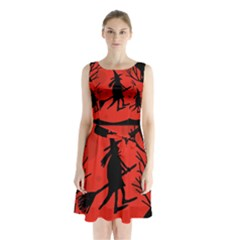Halloween witch - red moon Sleeveless Chiffon Waist Tie Dress