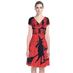 Halloween Witch   Red Moon Short Sleeve Front Wrap Dress