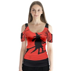 Halloween witch - red moon Butterfly Sleeve Cutout Tee