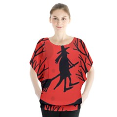 Halloween witch - red moon Blouse