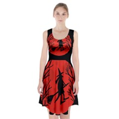 Halloween witch - red moon Racerback Midi Dress