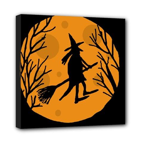 Halloween witch - orange moon Mini Canvas 8  x 8
