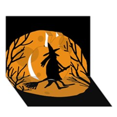 Halloween Witch   Orange Moon Apple 3d Greeting Card (7x5)