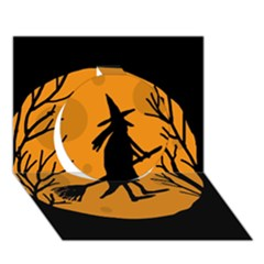 Halloween witch - orange moon Circle 3D Greeting Card (7x5)