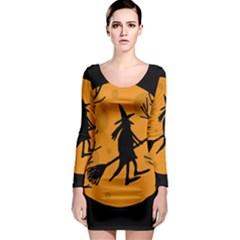 Halloween witch - orange moon Long Sleeve Bodycon Dress