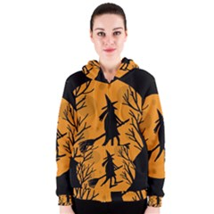 Halloween witch - orange moon Women s Zipper Hoodie