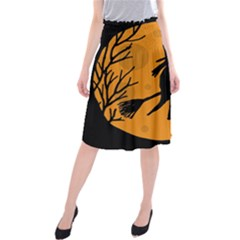 Halloween Witch   Orange Moon Midi Beach Skirt