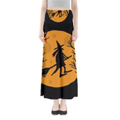 Halloween witch - orange moon Maxi Skirts