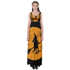 Halloween witch - orange moon Empire Waist Maxi Dress