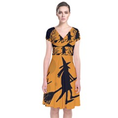 Halloween witch - orange moon Short Sleeve Front Wrap Dress