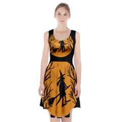 Halloween Witch   Orange Moon Racerback Midi Dress