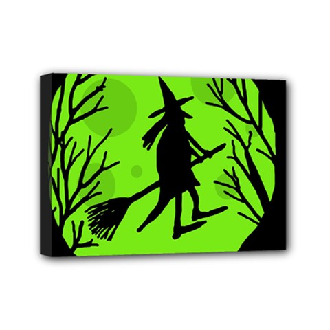 Halloween witch - green moon Mini Canvas 7  x 5