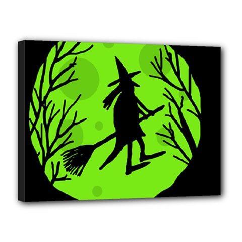 Halloween witch - green moon Canvas 16  x 12