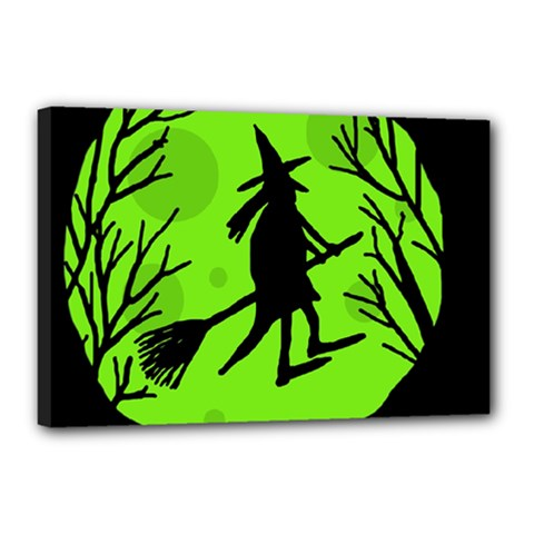 Halloween witch - green moon Canvas 18  x 12