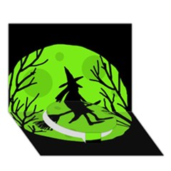 Halloween witch - green moon Circle Bottom 3D Greeting Card (7x5)