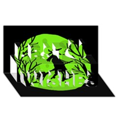 Halloween witch - green moon Best Wish 3D Greeting Card (8x4)