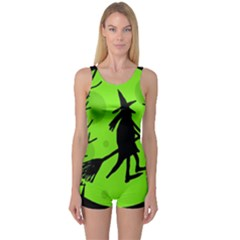 Halloween witch - green moon One Piece Boyleg Swimsuit