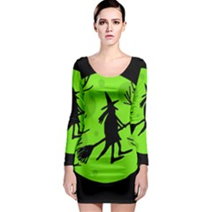 Halloween witch - green moon Long Sleeve Bodycon Dress