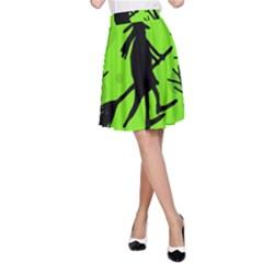 Halloween witch - green moon A-Line Skirt