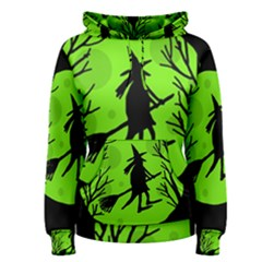 Halloween witch - green moon Women s Pullover Hoodie