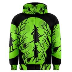 Halloween witch - green moon Men s Zipper Hoodie
