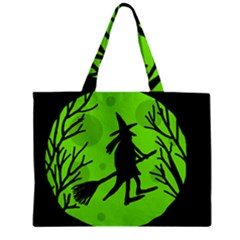 Halloween witch - green moon Zipper Mini Tote Bag